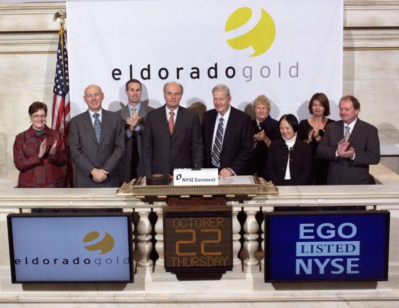 Eldorado Gold rings the opening bell at The New York Stock Exchange, October 22, 2009.