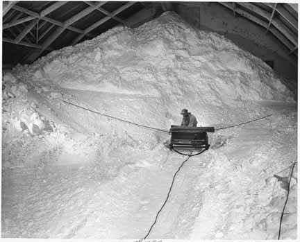 New Mexico has been synonymous with potash for a century. This photograph was taken in a storage warehouse near Carlsbad in 1938.